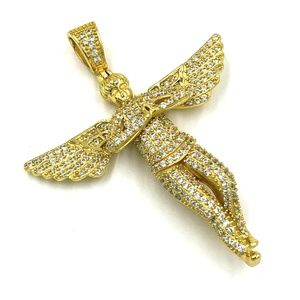 Other - Pendant Angel Simulated Diamond Gold finish 925